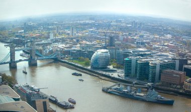 Tower Bridge and River Thames. City of London aerial view. London panorama form 32 floor of Walkie-Talkie building