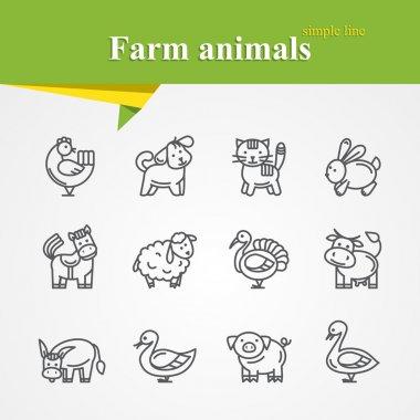 Farm animals line icoons