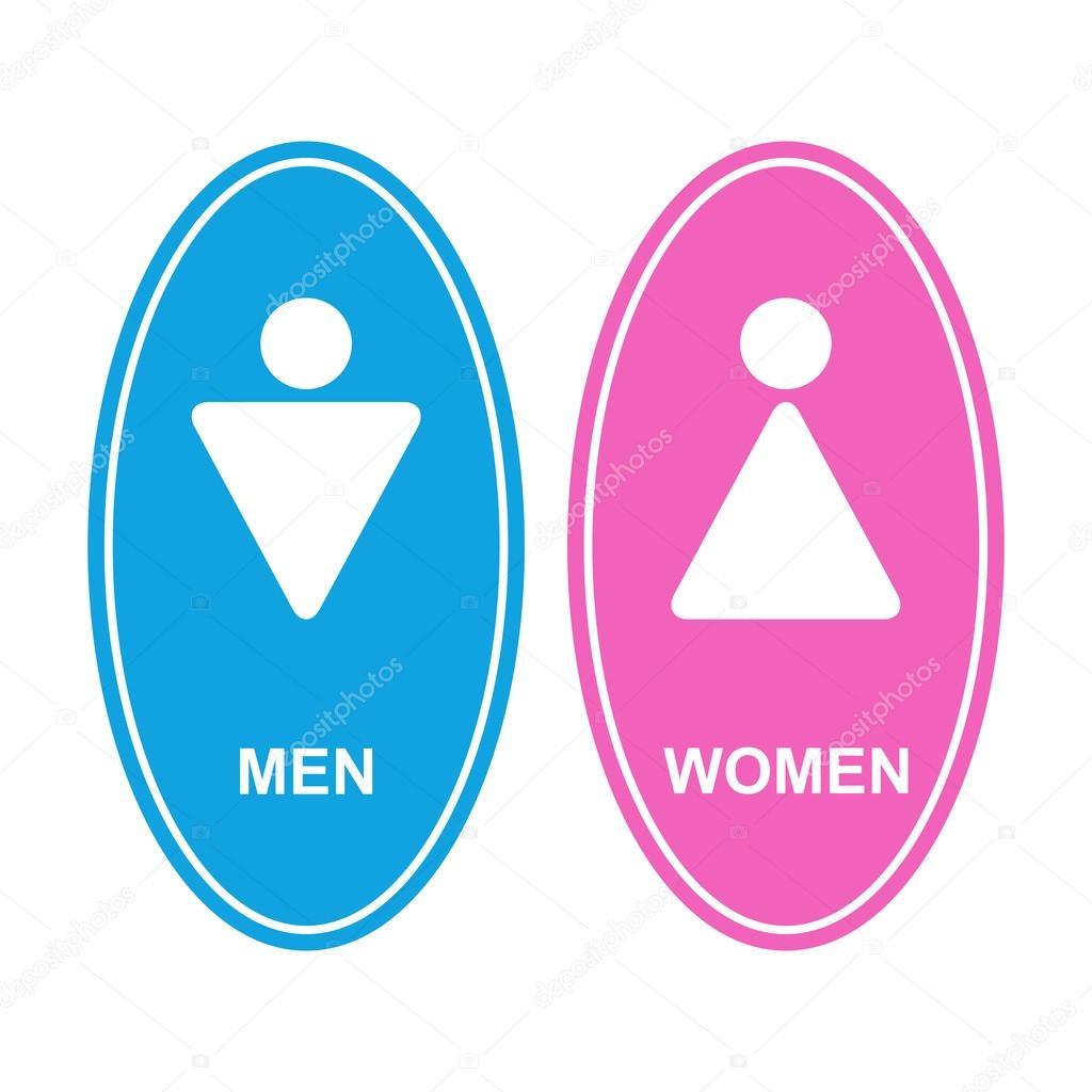 Uomini e donne segno bianco vettoriali stock aldanni for Bagno uomini e donne