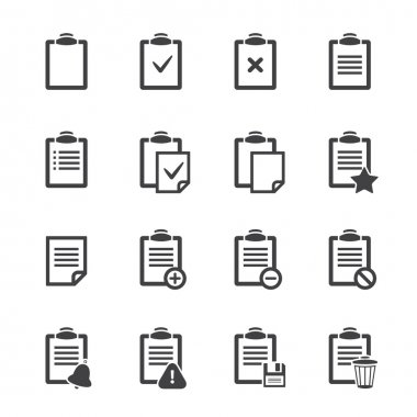 Clipboard icons over white.Vector ofice document