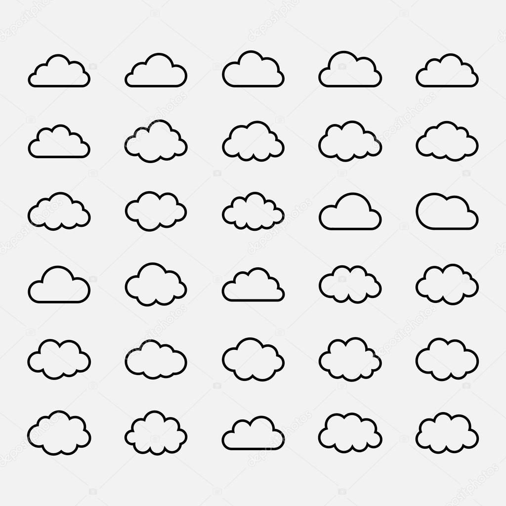 Big vector set black cloud shapes, icons