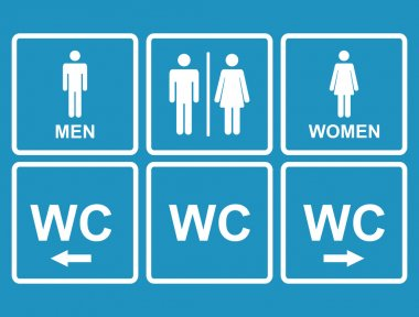 Male and female WC icon denoting toilet , restroom simbol
