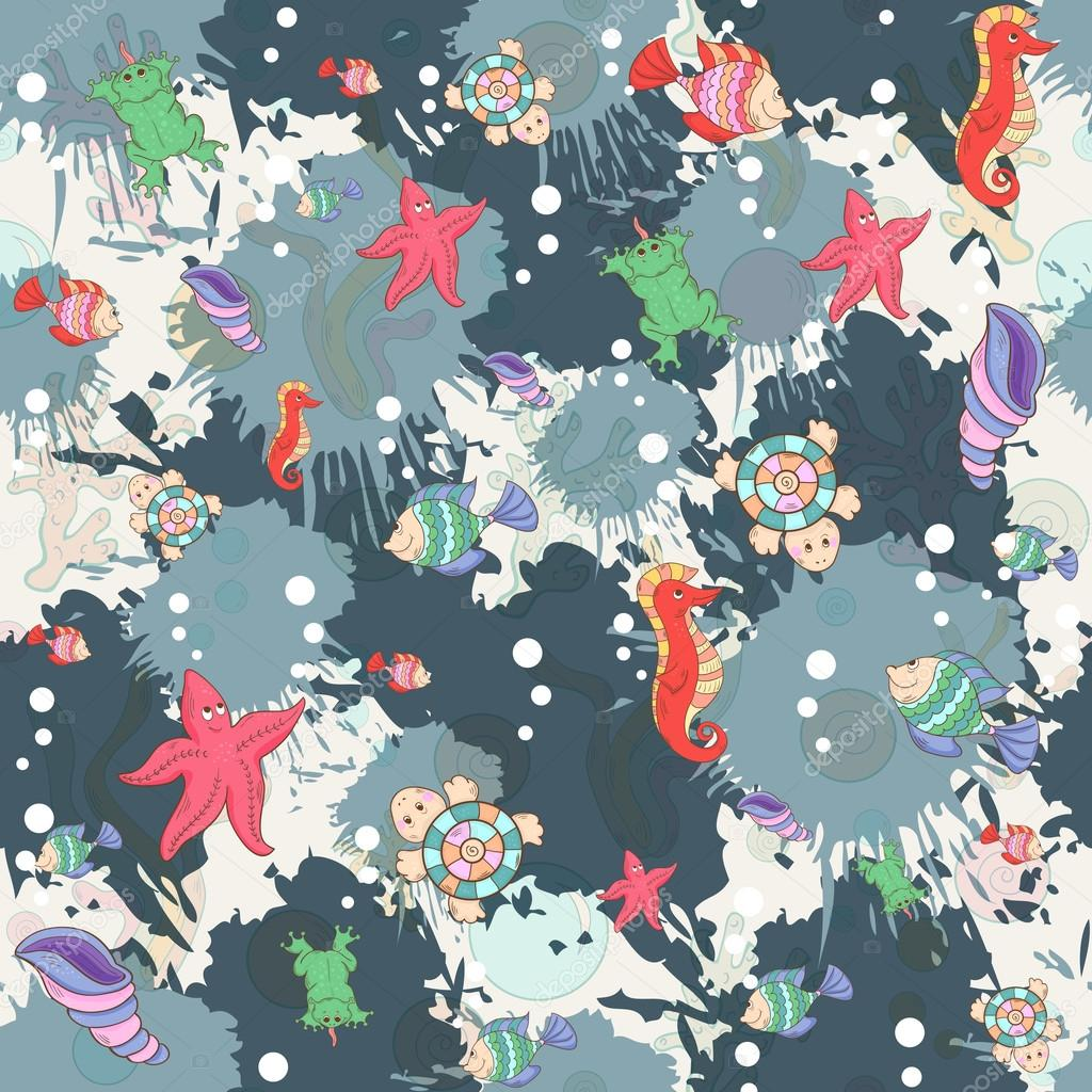 Seamless abstract marine life.Seamless pattern with sea inhabita
