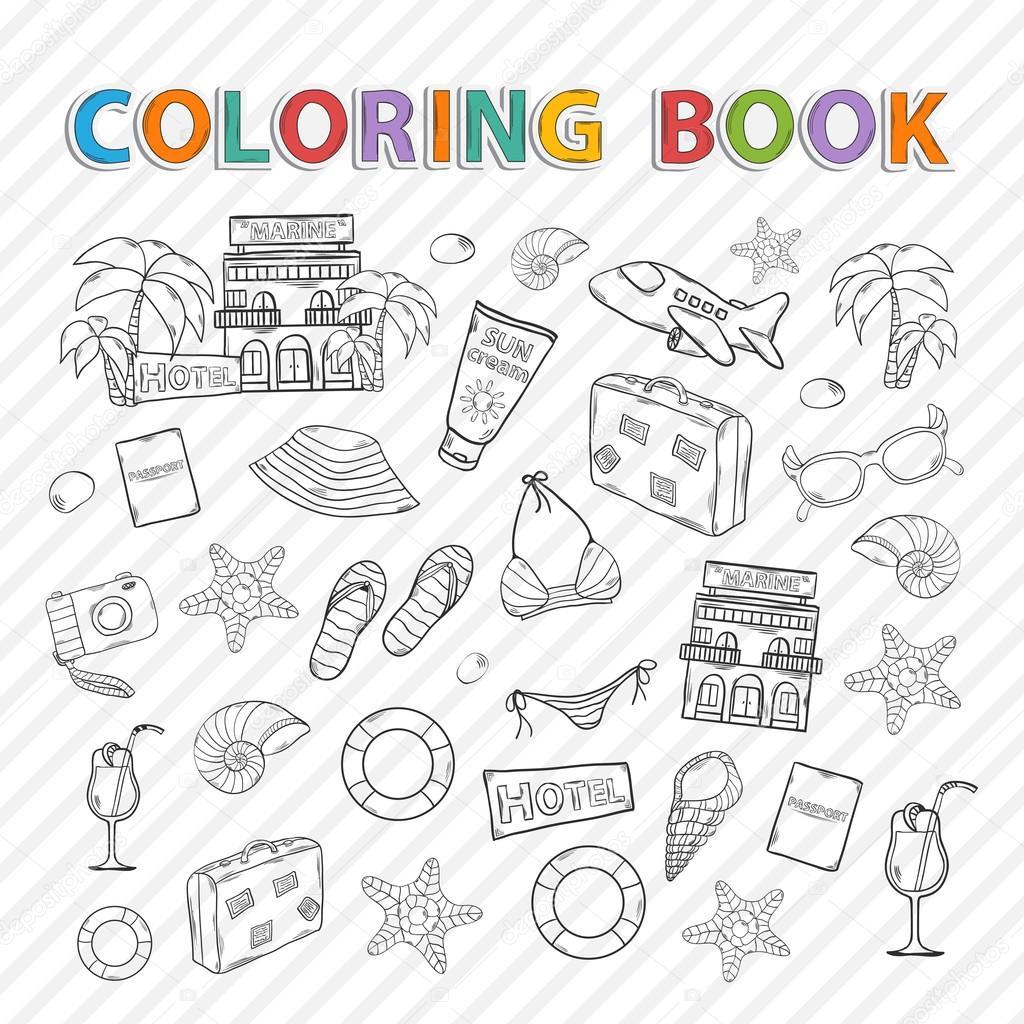 Libro de colorear de vector. Conjunto de verano — Archivo Imágenes ...