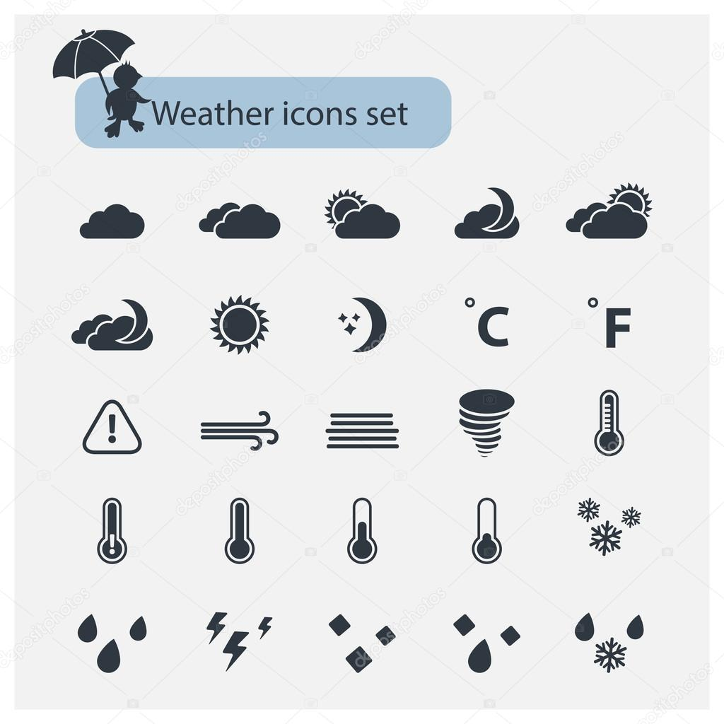 Vector Weather  black icons set