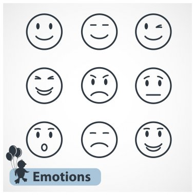 Faces emotions icons set