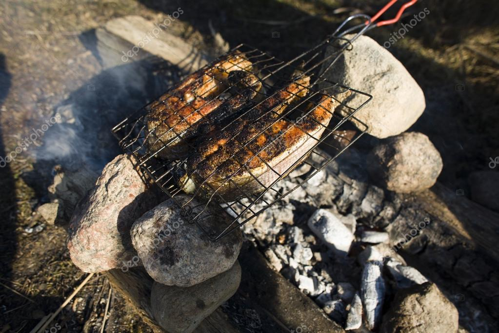 salmon fish cooked on bbq grilled