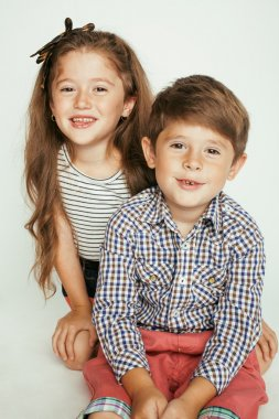 little cute boy and girl hugging