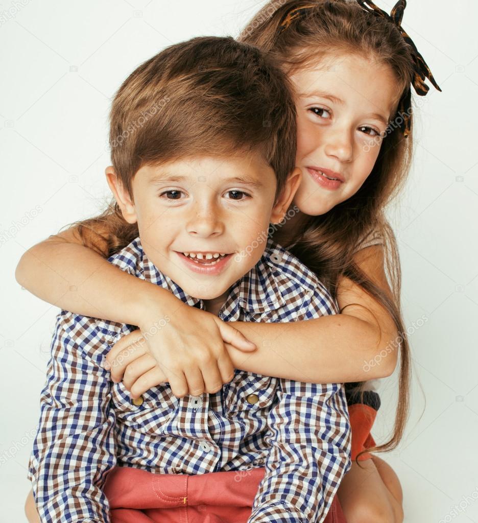 little cute boy and girl hugging — stock photo © iordani #112509240