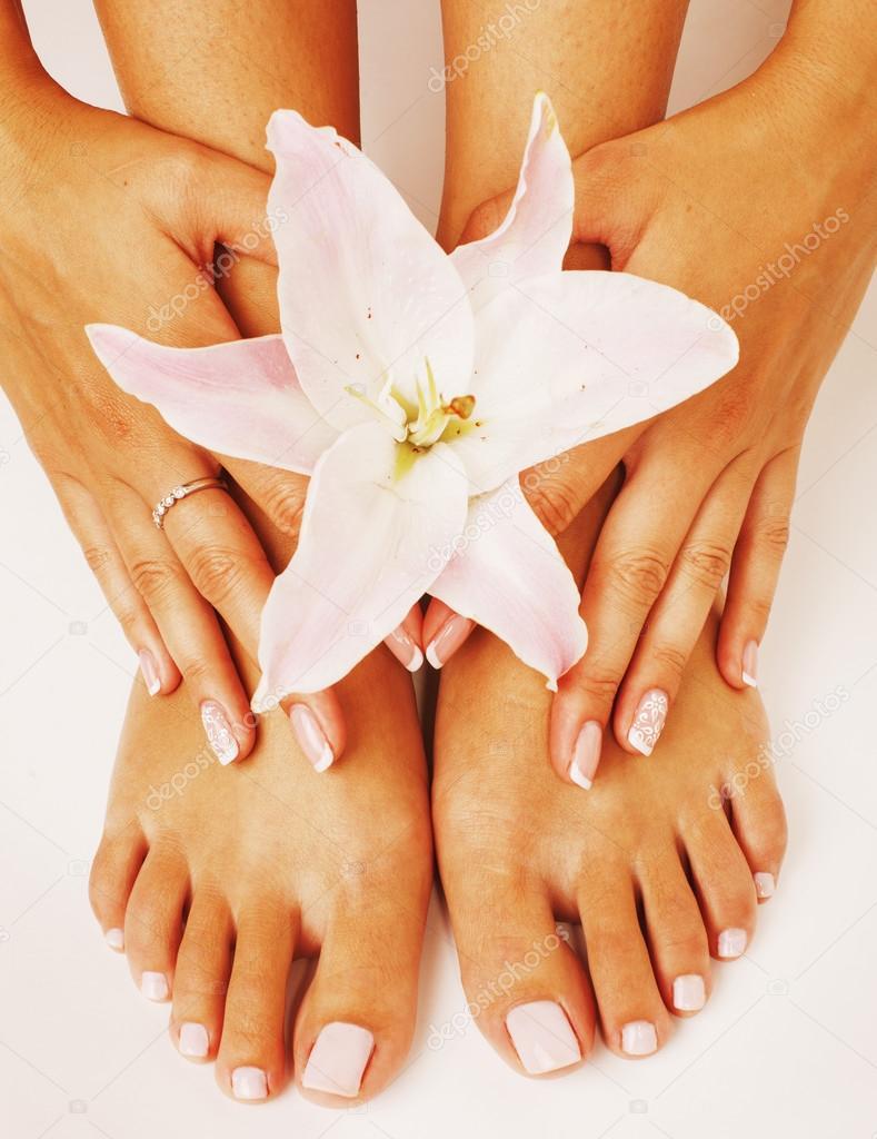 Manucure Pedicure Avec Fleur Photographie Iordani C 115407130