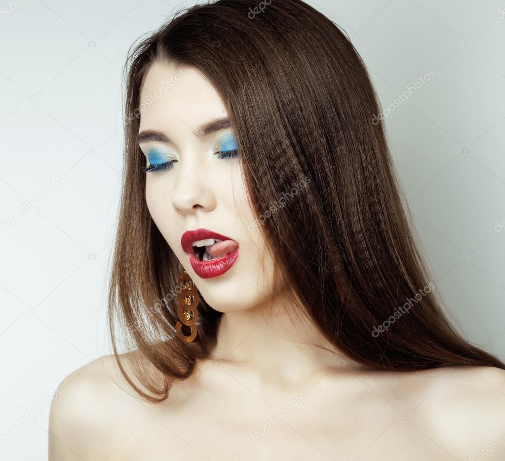 Sexy Schönheit Mädchen Mit Roten Lippen Und Nägel Provokative Make