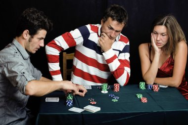 young people playing poker off-line tournament betting call