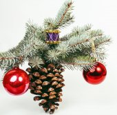 Fotografie new year celebration, Christmas holiday stuff, tree, toys, decoration with snow