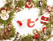 Fotografie christmas decoration isolated , white background for post card greetings, toy design on tree macro text