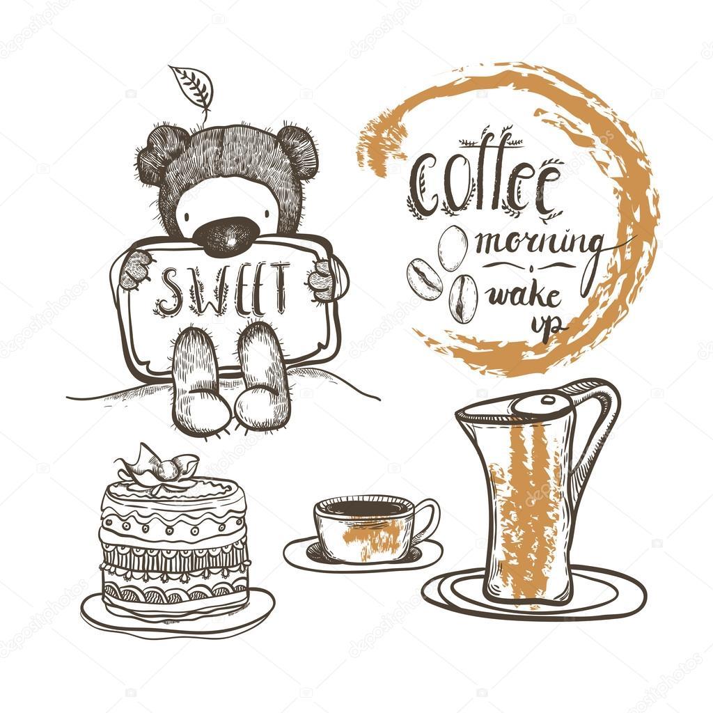 Vektor Cartoon Set Mit Kaffee Teddybar Beschriftung Eine Tasse