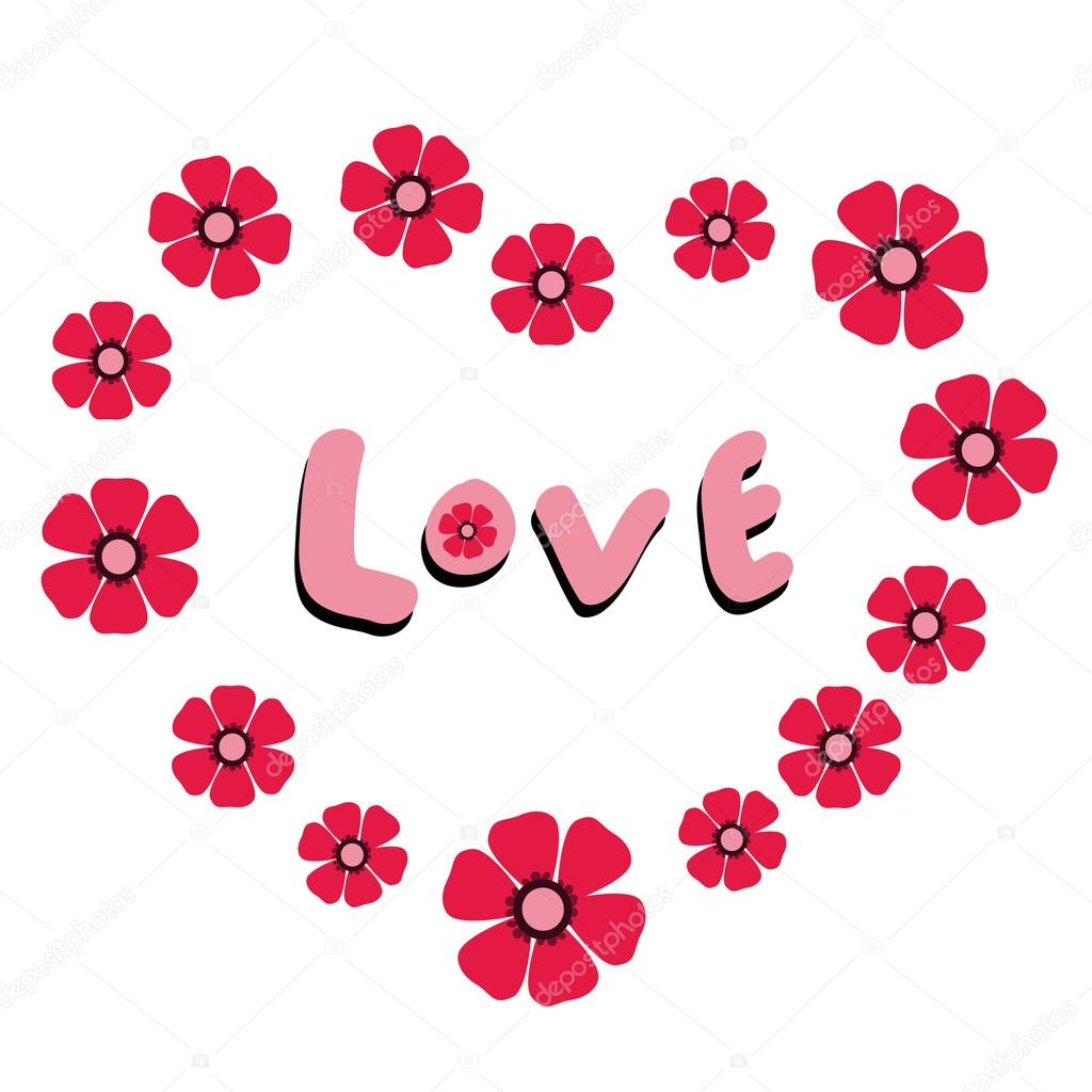 Coeur Floral De Fleurs Roses Avec Le Mot D Amour A L Interieur
