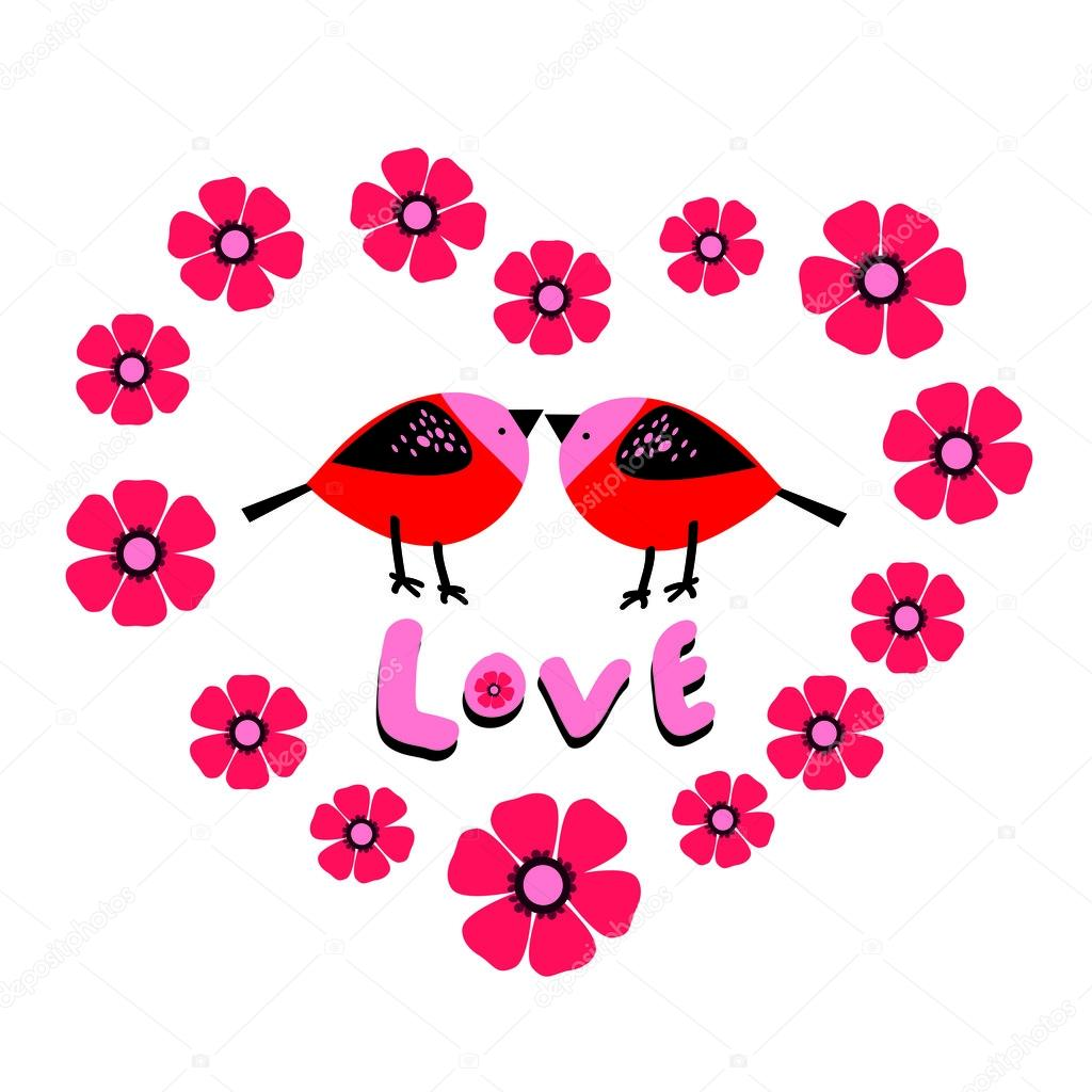 Floral heart from pink flowers with tow red birds and word love floral heart from pink flowers with tow red birds and word love inside stock mightylinksfo