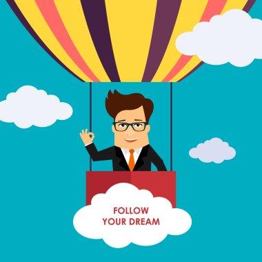 Business man cartoon character flying on hot air balloon
