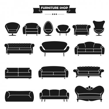 Luxury modern sofa and couch icons set.