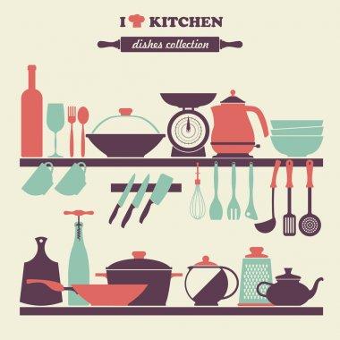 Vintage kitchen dishes icons set