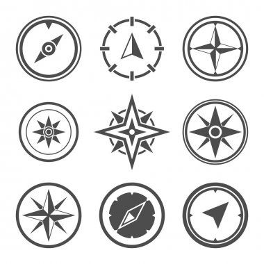 Wind rose compass symbols