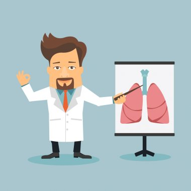 Doctor pointing at hape of human lungs
