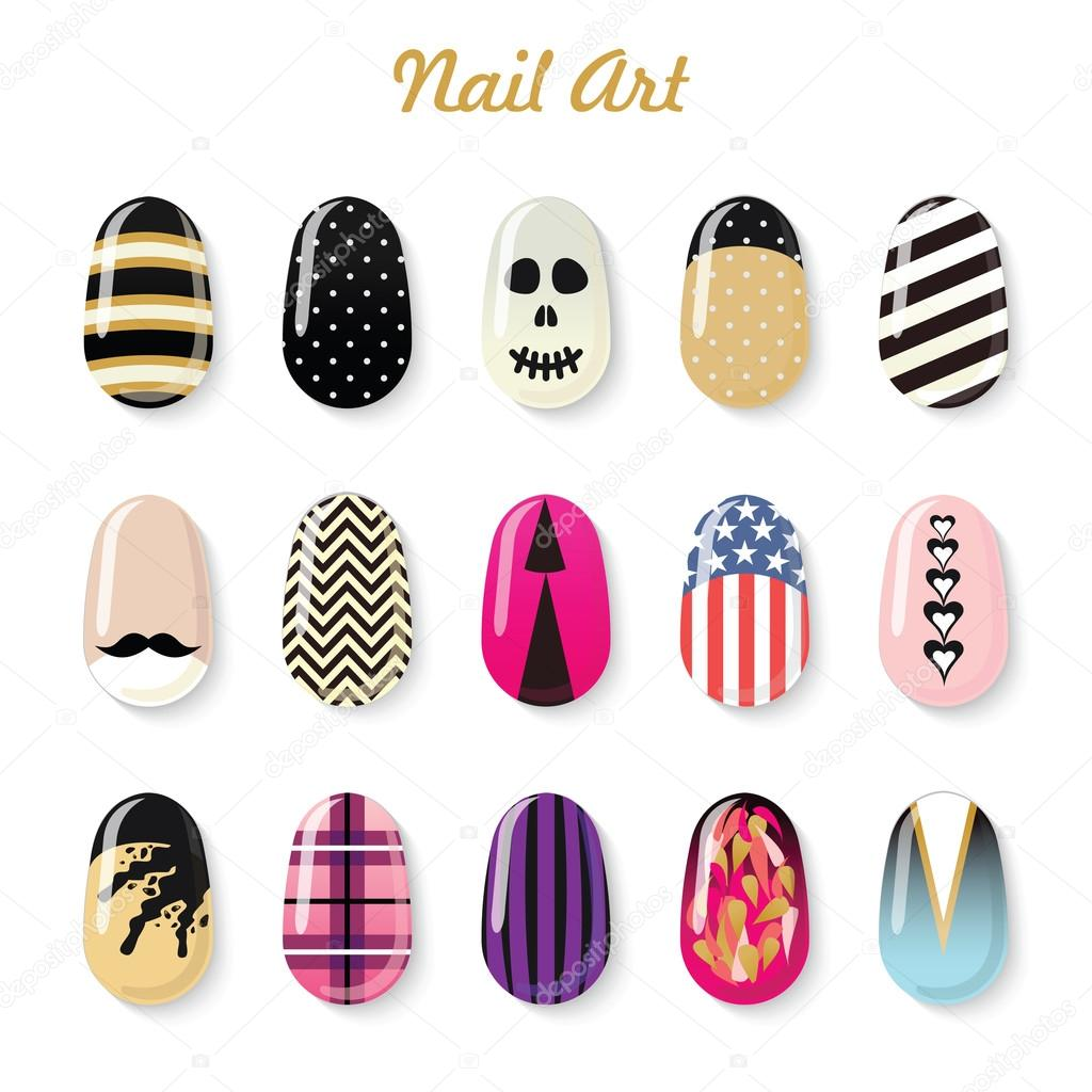 Nails art templates — Stock Vector © lub_lubachka #68599535
