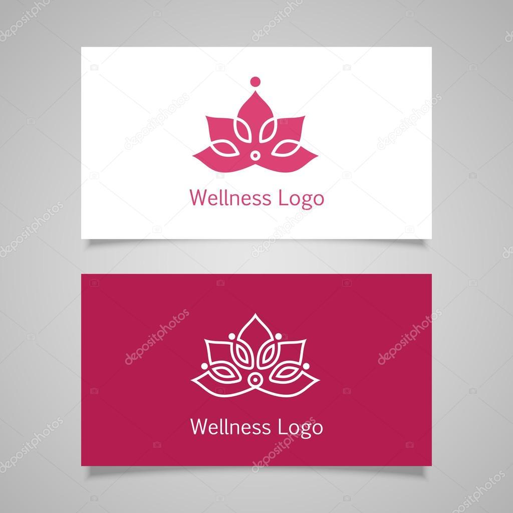 Etiquette De Bien Etre Floral Vector Lotus Symbole Icone Carte Visite Vecteur Par Lub Lubachka