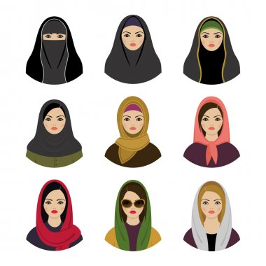 Muslim girls avatars set.