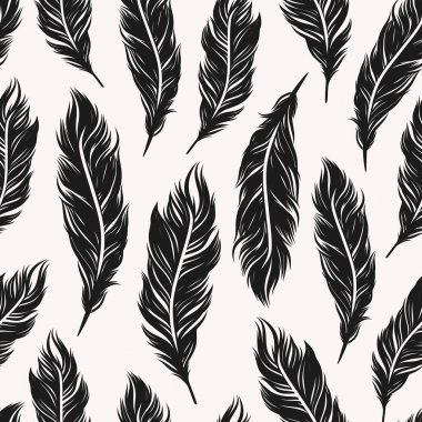 Art Deco seamless pattern with feathers