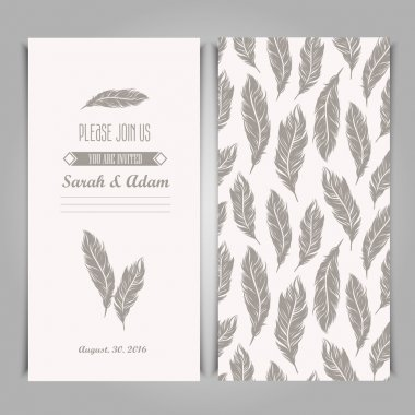 vintage template with silver feathers