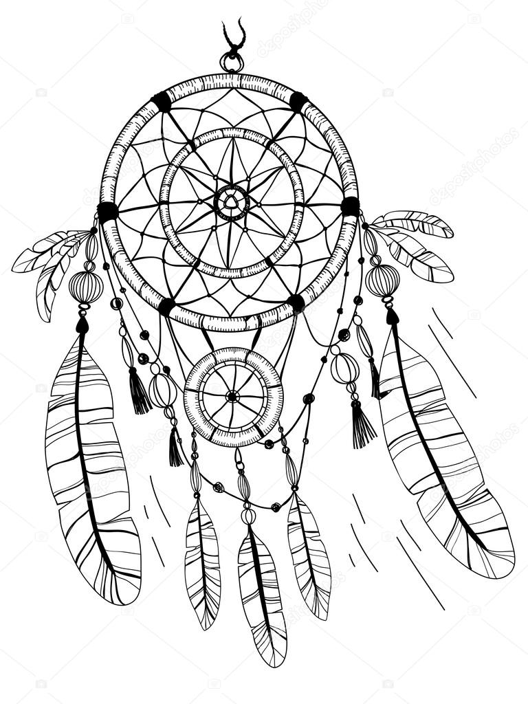 dreamcatcher feathers and beads coloring page u2014 stock vector