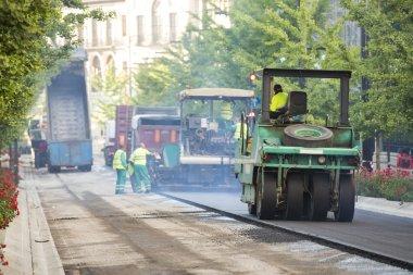 Heavy Vibration roller compactor at asphalt pavement works for r