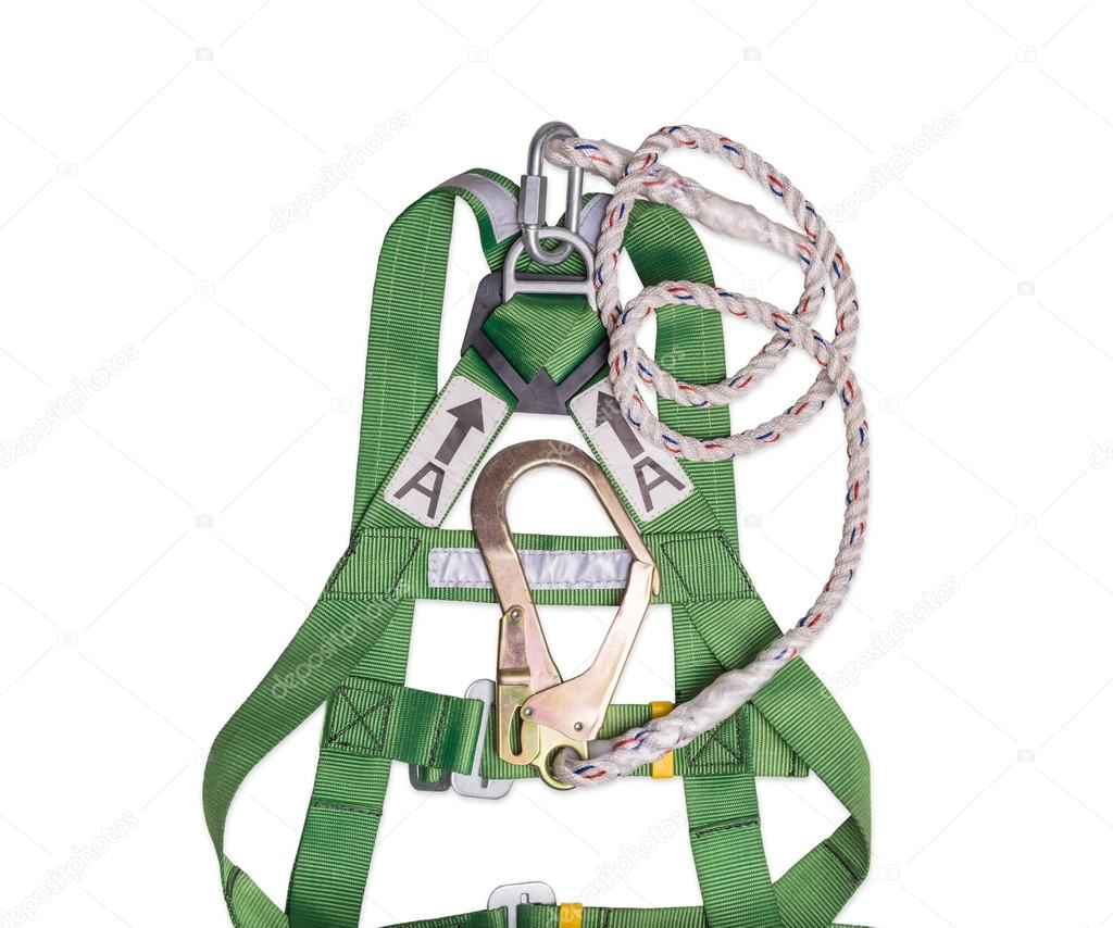 Fall protection harness and lanyard for work at heights on