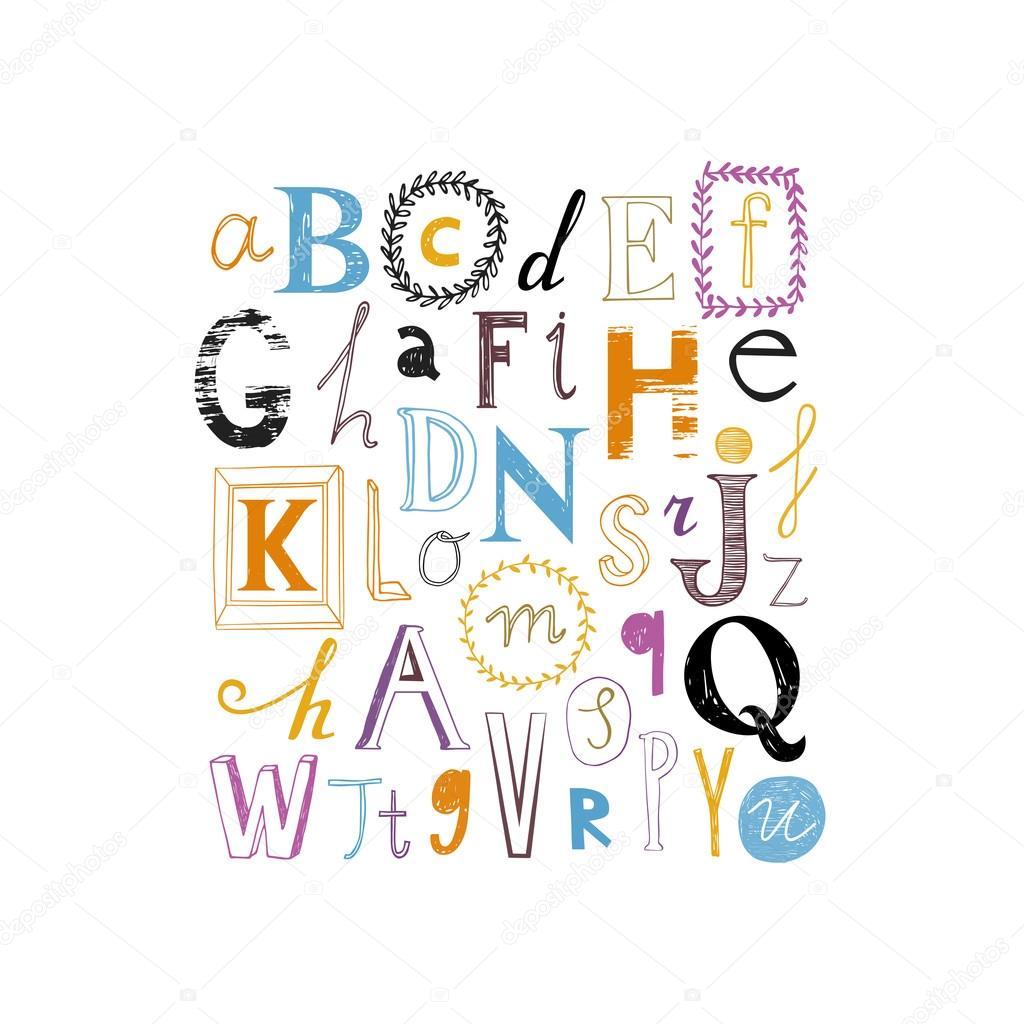 かわいいアルファベットのデザイン様々 な文字のセット
