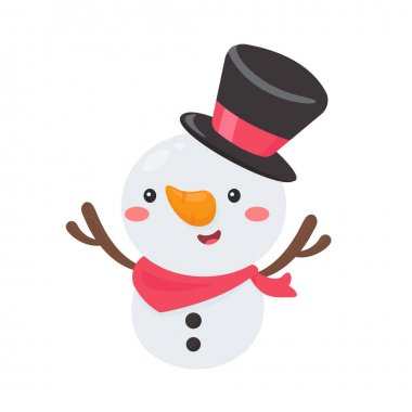 Cartoon snowman wearing a red scarf is happy for christmas. icon