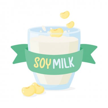 Soy milk with soy beans poured into a clear glass for drinking in the morning. Health care concept