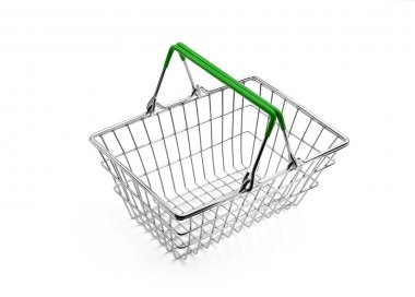 Wire Metal Shopping Basket Green Handle