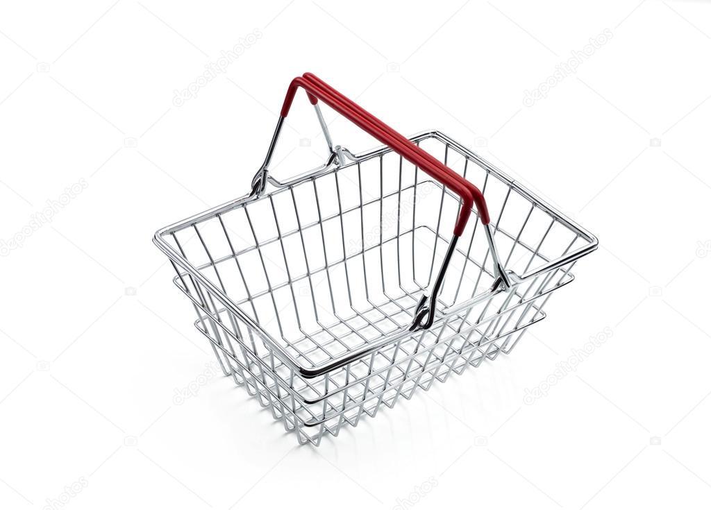Einkaufskorb Metall Draht roter Griff — Stockfoto ...