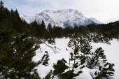 Horské panorama v zimní krajině, Mittenwald, Německo