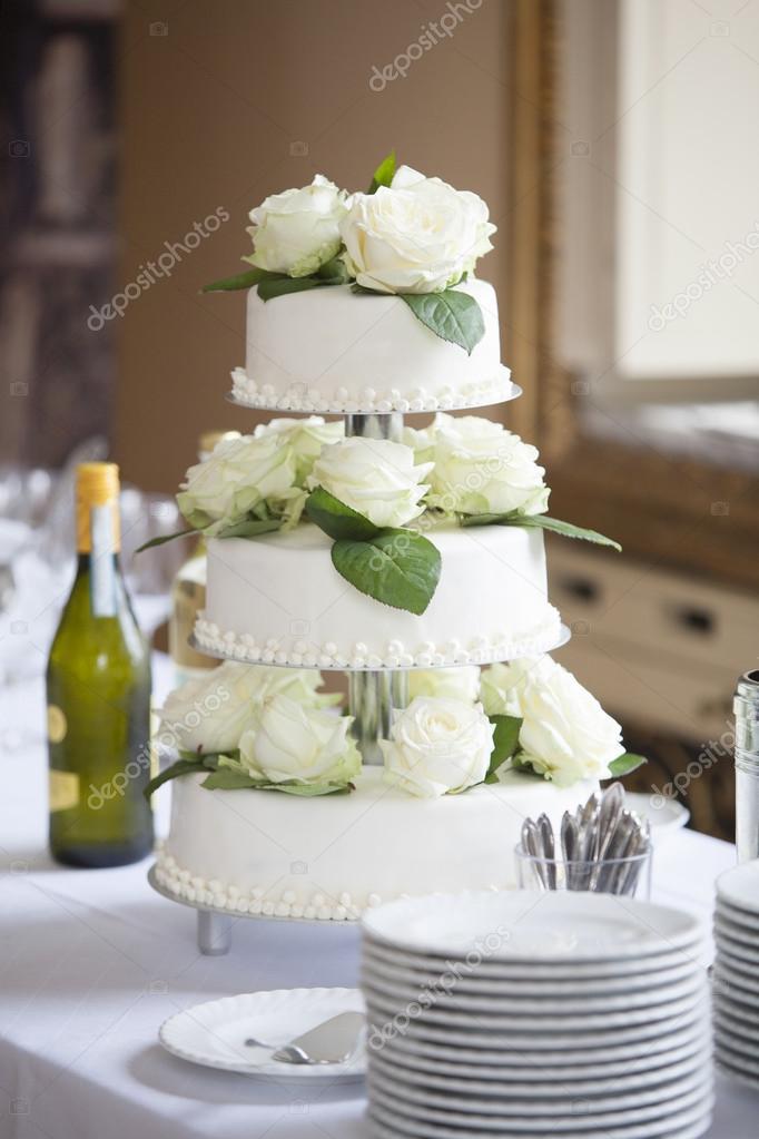 173c6a3240dc vit bröllopstårta med rosor — Stockfotografi © kb-photodesign #98592794