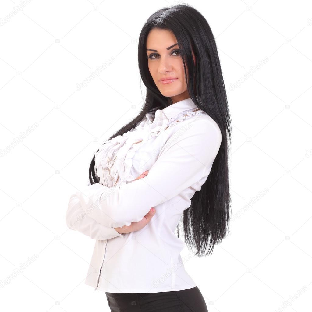 c95beb2d2d0a Junge Frau in weißem Hemd und schwarzer Rock — Stockfoto © zhagunov ...