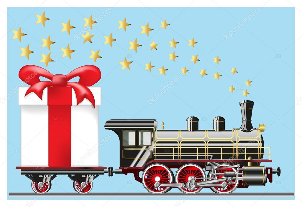 steam locomotive with gifts