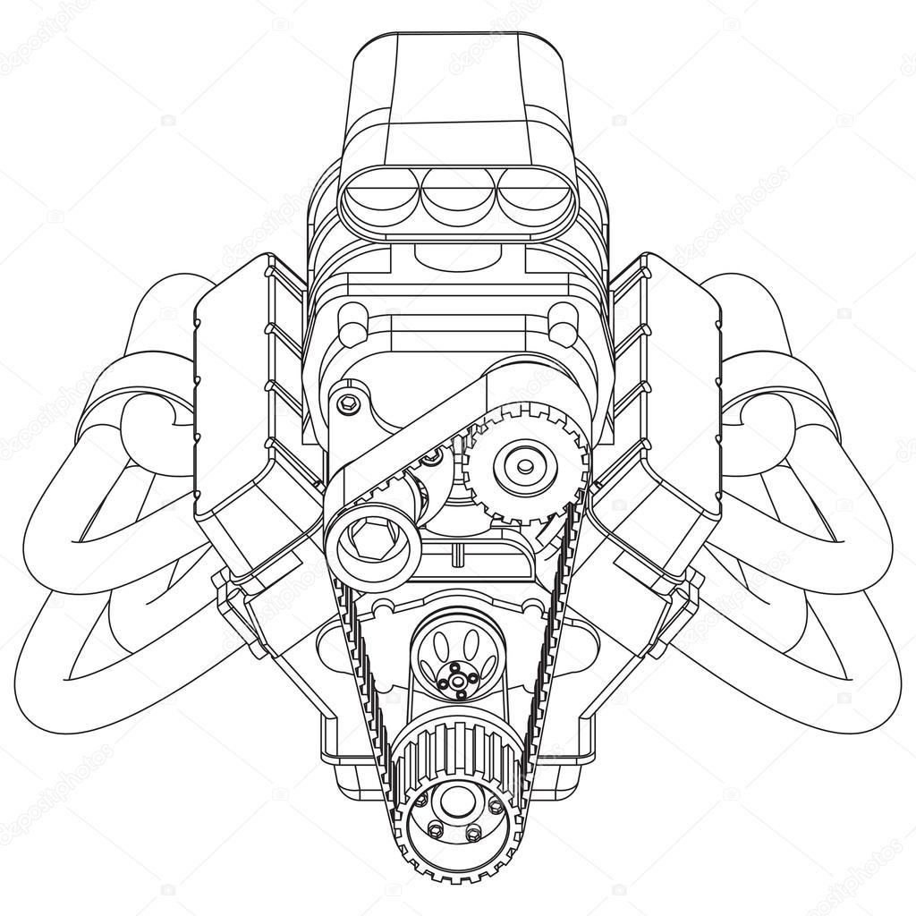 hot rod motor  u2014 vetores de stock  u00a9 gorbovoi81  98436864