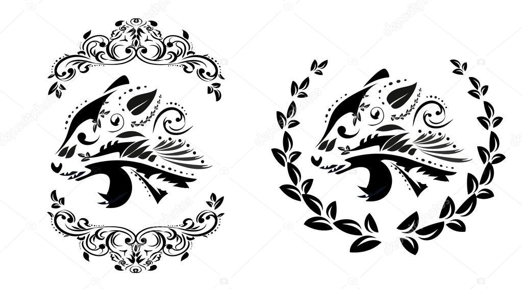 Silueta floral blanco y negro de la cabeza de Pantera — Vector de ...