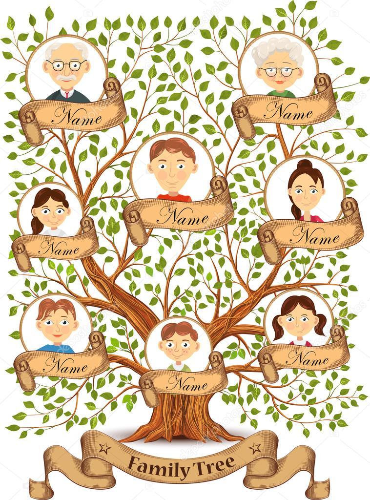 Aile üyeleri Vektör çizim Portreleri Ile Aile Ağacı Stok Vektör