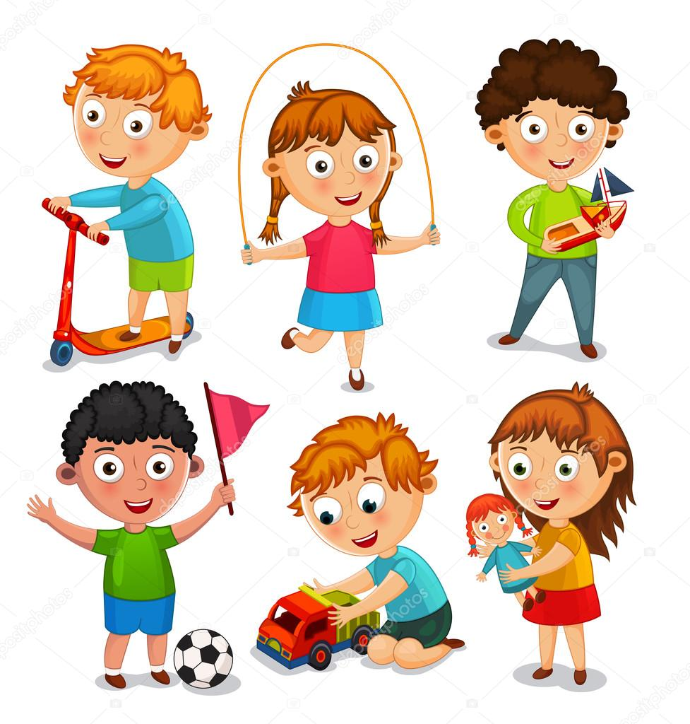 Kids Are Playing With Toys Vector Illustration Stock Vector