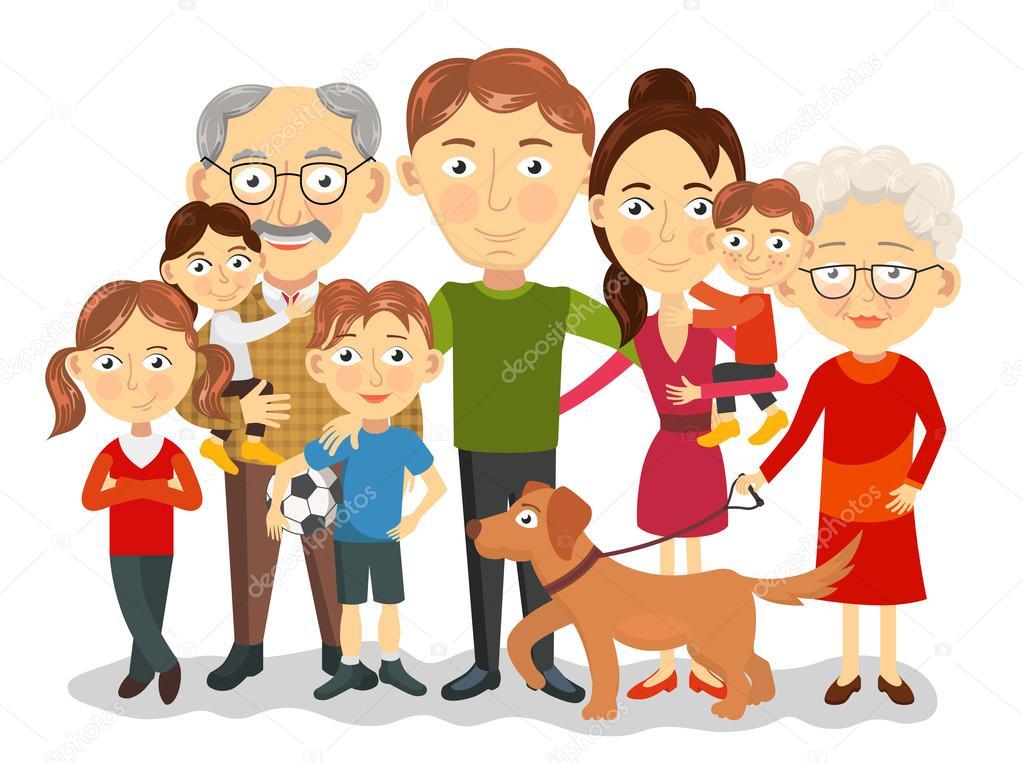Imagen De Una Familia Feliz Animada: Retrato De Família Grande E Feliz Com As Crianças, Pais
