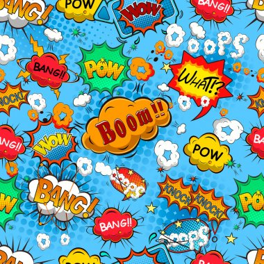 Comic speech bubbles seamless pattern vector stock vector