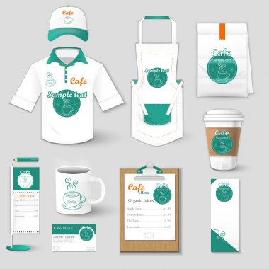 Set of restaurant corporate identity, burgers, uniform, flyer, shirt, cup, menu, package, coffee cup vector illustration